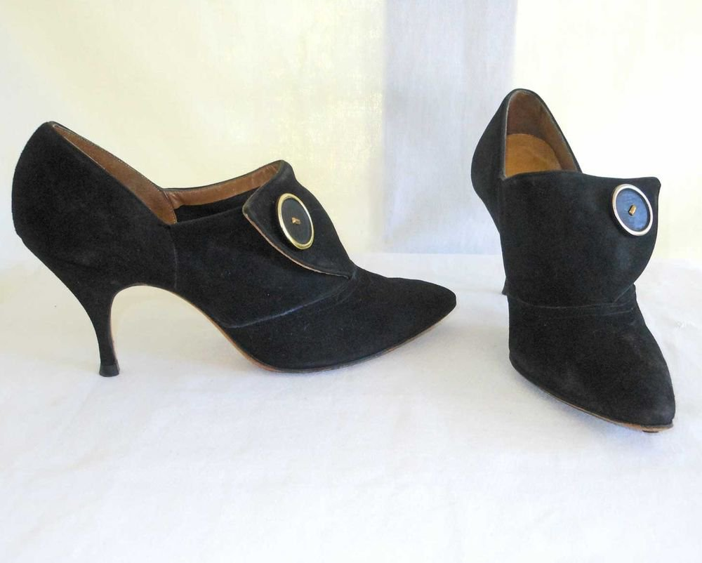 Vintage 60s Black Suede Booties Pumps Wings Spats Pointy Button Pin Heel 5.5M