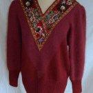 ANGORA Oxblood Sweater Mini Dress Vintage 70s NOS Pearl Jewels Beads  SHANNAN M