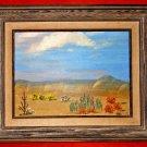 Vintage 50s Modernist Decor New Mexico Spring Flower Painting Desert Western