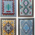 Vintage Set Needlepoint 4 Framed Southwest Western Decor Symbolism Ranch Cabin