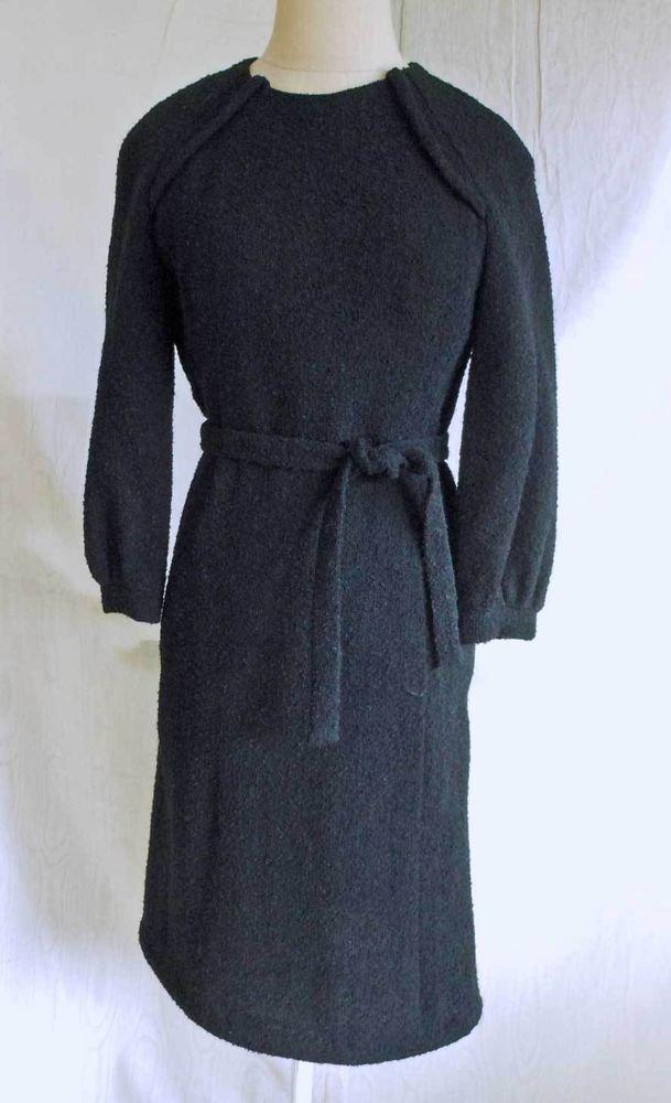 Minimalist Oversize Sleeve Dress Deadstock Belted Boucle NOS Vintage 60s Stevens