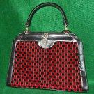 Coblenz Handbag Bag Vintage 60s Velvet Basketweave Leather Structured TOP HANDLE