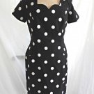 Scaasi Vintage 80s Deadstock Dress Polka Dot Dotted Linen Black White Scalloped