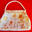 Vtg 50s Beaded NOS White Gold Structured Metallic Top Handle Purse Evening Bag