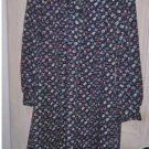 Tuxedo Dress NOS 12 Deadstock Princess Original Vintage 70s Floral Dark Blooms