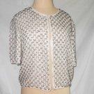 Trophy Jacket Allover Beaded Sequin Vintage 70s Silver White NOS Silk Kazar L