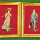 Vintage Historical Needlepoint Pair Set of 2 Costumed Blue Boy Pink Girl Framed