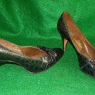 Nos Deadstock Shoes 8 Vintage 60s Joseph LaRose Geller Leather Croc Effect Bow