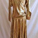Lame Metallic Liquid Gold Dress Gown Draped Bernard Ekletics NOS Vintage Gown 8