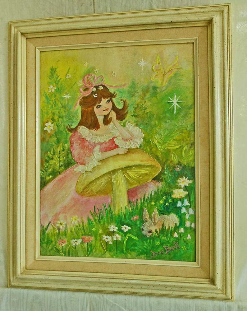 Vintage 60s Painting Joan Bank Alice in Wonderland 3D Big Eye Little Girl Pink
