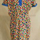 Valentino Vintage 70s Dress Bright Flower Fit and Flare Preppy Polo Print 14