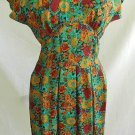 Vintage BOMBSHELL 70s Nos Silk Obi Backless Dress Debora Kuchne Floral Muted