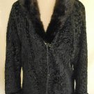 Vintage 60s Black Persian Lamb Mink Collar Fur Jacket Sexy Fitted Military