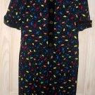 Dress Pixel Print Nos Silk Louis Feraud Puff Shoulder Vintage 70s Shift Sheath