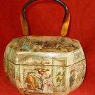 Vintage 50s Wood Box Bag American Colonial Historical Scenes Paul Revere