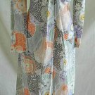 Maxi Dress Vintage 60s NOS Print Metallic Silver Op Art Plunging Draped Brooch