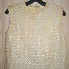 "Sequin Corset Top Camisole Evening Vintage 50s Blouse Luminious Bust 40"""