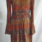 Dress Vintage 60s Deadstock Nos Paisley Cossack Maxi Morton Myles High Collar 14