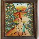 Haitian Painting Vintage 60s Signed Haiti Barefoot Women Geometric Sunset Framed