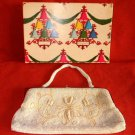 Vintage 40s Dead Stock in Chrismas Gift Box Deadstock Beaded Evening Clutch Bag