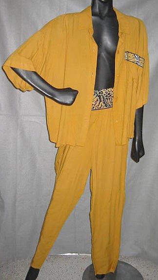 Givenchy NOS Vintage 70s Leopard High Waist Pants Tunic Shirt Set Sportswear