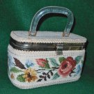 Vintage 50s Box Bag Handbag Purse Flowers Needlepoint Modern Mid Century JR Fla