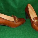 Gucci Vintage 70s Horsebit Loafers Mocs Pumps Leather Shoes Stacked Heel 38AA
