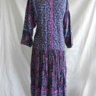 Belle France Dress Vintage 60s Maxi Nos Purple Print Dropped Waist Batwing 4