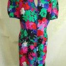 FLORA KUNG Dress Silk Vintage 80s NOS Deadstock Flower Print Pleated Shoulder
