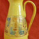Mid Century Incised Italian Ceramic Pottery Yellow Pitcher Jug Vintage 50s