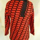 Sweater Tunic Mini Dress Vintage 60s ORANGE Modernist Ketty Wool Italy BIZZOSO