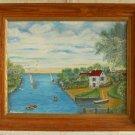 Michigan Folk Art Painting Edmond Hontans Vintage 70s Lake Marine Boats Boating