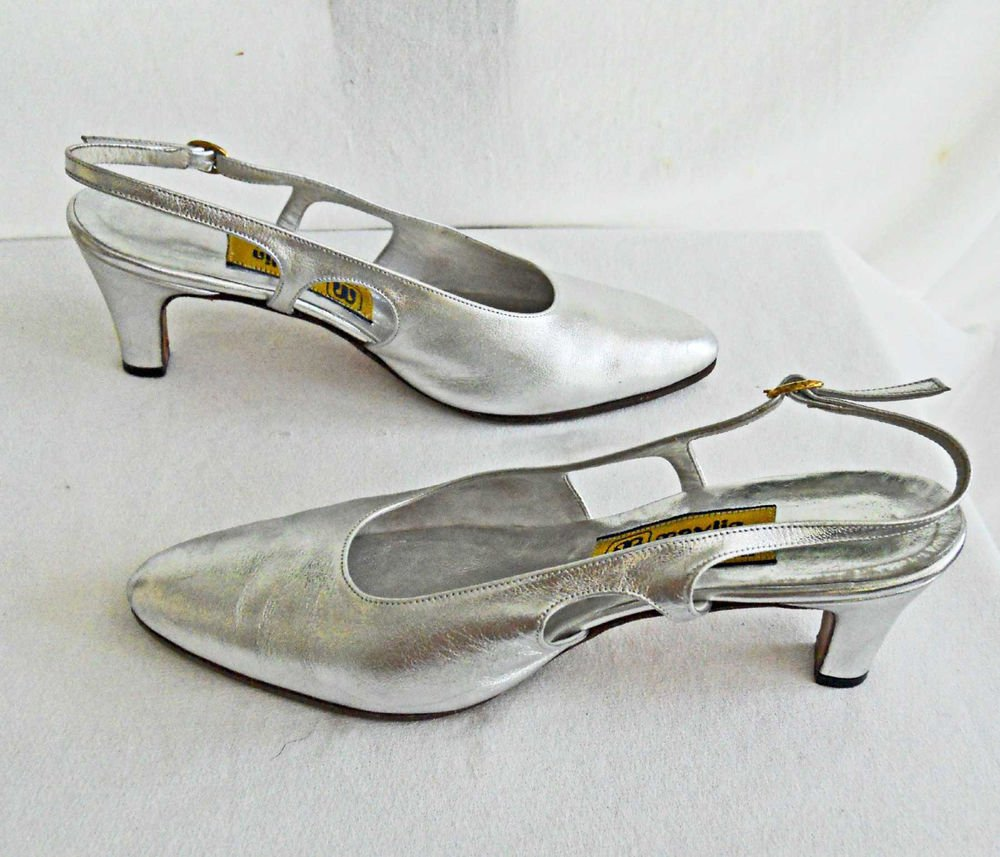 Vintage 70s Slingbacks Sandals  Pointy Silver Metallic Maylin Peninsula Hotel 8