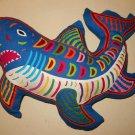 Mola Shark Vintage Kuna 3D Pillow Cut Out Folk Art Handmade Fish Decor Beach