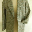 YSL Yves Saint Laurent Sexy Vintage 70s Soft Wool Plaid Brown Blazer Jacket 36