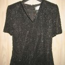 Beaded Swing Blouse Tee Shirt Silk NOS Vintage 80s Flowy Structured Shoulder