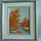 Landscape Vintage Original Oil Painting Fall Foliage River New England Keine
