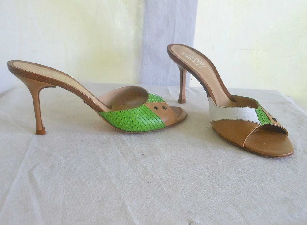 Gianni Versace Sexy Vintage 80s Stiletto Mules Sandals 3 Colors Mixed Print 39