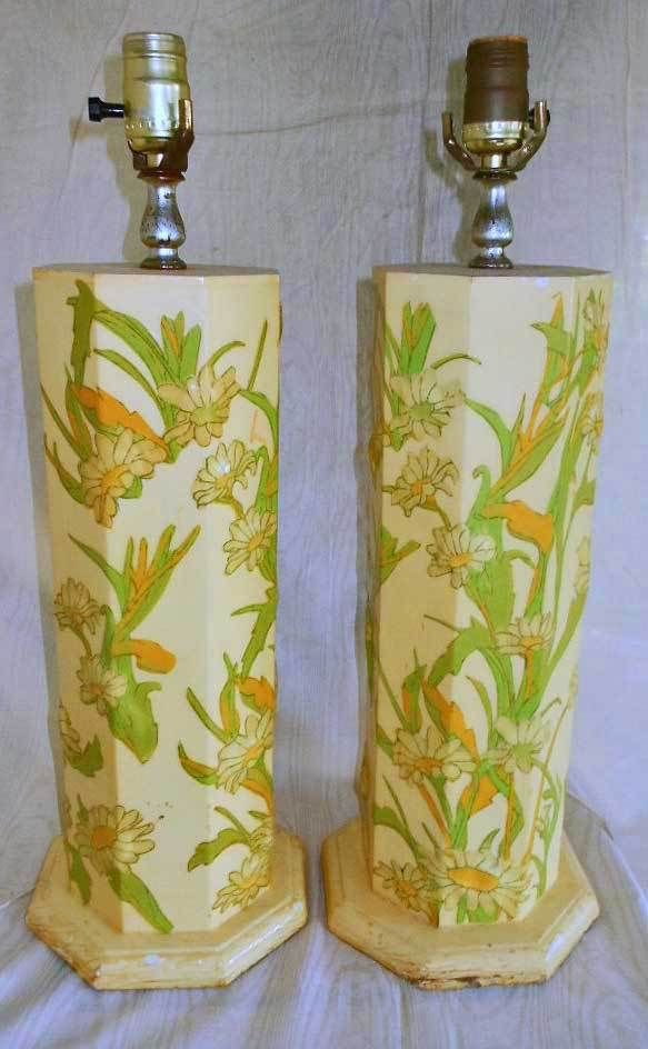 Vintage 60s Pair Lamps Sunny Blooming Daisy Annie Laurie Palm Beach Decor Preppy