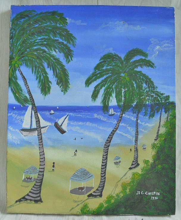 Vintage Haitian Folk Art Original Oil Painting Chirspin