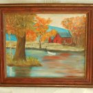 Massachusetts Vintage 70s Plein Painting Red Barn Phillips South Hadley Amherst