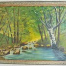 Vintage Painting Massachusetts Landscape New England Forest Brook Phillips