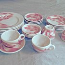 Pink Vintage Syracuse China Sovereign Set Service for 4 20 Pieces Leaf Art Deco