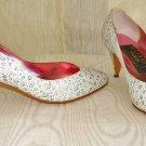 Cone Stiletto Heel Metallic Polka Dot 3D Pumps Vintage 70s Shoes Adige Paris 4.5