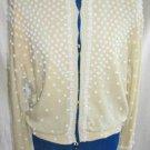 Angora Vintage 60s NOS Overall Heavy Hand Beaded Sweater Pin UP Cardigan Jo Ro