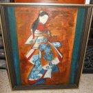 Vintage 70s Masterpiece Portrait Oil Painting Copy Kaigetsudo Ando Japanese Lady