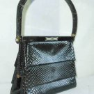 Vintage Snakeskin Leather Structured Top Handle Jewel Clasp Layers Bag Coblentz