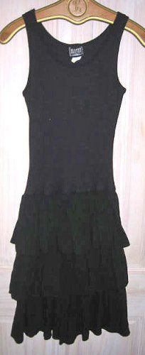 Dress Flared Ribbed Knit Sex Kitten Waterfall Ruffle Vintage 70s NOS Cotton