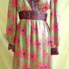 Nos Tibi Silk Floral Contrast Print Dress Empire Waist Long Sleeve Pink Gray 4