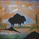 Kansas 1861 Vintage Original Painting Sunflower State Bison Buffalo Mountain